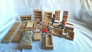 LARGE JOB LOT OF WOODEN DOLLS HOUSE FURNITURE..VARIOUS MAKES..SEE LISTING