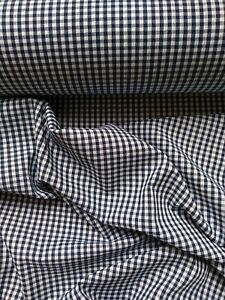 """NAVY BLUE GINGHAM CHECK 1/8"""" cotton mix fabric sold/PER METRE/"""