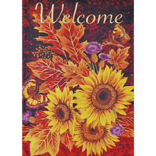 "FALL BOUNTY WELCOME 12.5"" X 18"" GARDEN FLAG 27-2687-123 FLIP IT! RAIN OR SHINE"