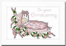 BABY GIRL CHRISTENING CROSS STITCH CARD KIT