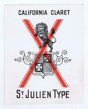 California Carlet St Julien Type, Red X, Antique VTG Liquor label #34