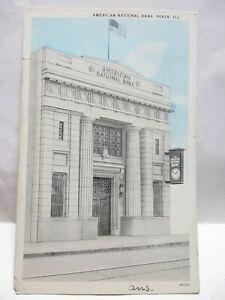 1930 EHRLICHER BROS PEKIN POSTCARD AMERICAN NATIONAL BANK, PEKIN IL CLOCK, SIGN