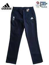 ADIDAS TEAM GB RIO 2016 ELITE ATHLETE BLUE COTTON CHINO PANTS TROUSERS Size 38""