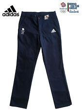 """Adidas Team GB Rio 2016 Elite atleta Azul Algodón Tela De Algodón Pantalones Pantalones Tamaño 38"""""""