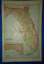 Vintage 1909 Atlas Map ~ FLORIDA ~ Old & Authentic ~ Free S&H