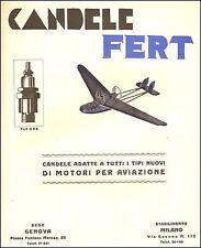 PUBBLICITA' 1928 CANDELE FERT OR8 MOTORI AVIAZIONE AEREOPLANI GENOVA SPARK PLUG