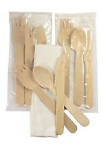 Disposable Wooden Cutlery Picnic Kit With Napkin GREEN 50 Ct