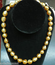 18KT 16.6M NATURAL SOUTH SEA GOLDEN PEARLS NECKLACE 1.50CT DIAMOND CLASP+