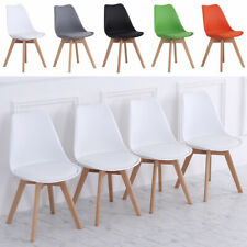 4pcs/Set Nordic ABS Dining Chairs w/ PU Leather Cushion Seat Desk Chair Wood Leg