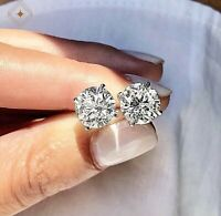 5Ct Round Cut VVS1 Diamond Solitaire Push Back Stud Earrings 14K White Gold $495