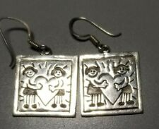 VINTAGE MEXICO SQUARE STERLING EARRINGS Save The  Children Series