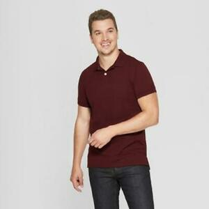 Mens Big Tall Gray Striped Polo Shirt Standard Short Sleeve Goodfellow New XLT