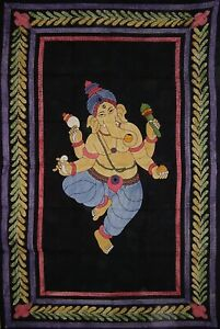"""Ganesha Tapestry Cotton Wall Hanging  102"""" x 70"""" Twin Multi Color"""