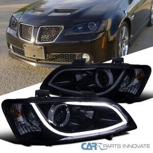 Glossy Black For 08-09 Pontiac G8 LED Strip Bar Projector Headlights Head Lamps