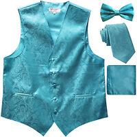 New Men's Paisley Tuxedo Vest Waistcoat _necktie_Bow tie_Hankie Turquoise blue