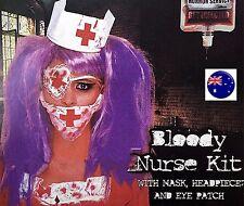 Halloween Bloody Blood Horror Nurse Doctor Kit Hat Mask Costume Party PROP 3 set