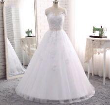 UK 2018 White/Ivory Sleeveless A-Line Lace Wedding Dress Bridal Gown Size 6-16
