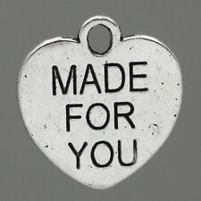 "Lot 5 Pendentif Coeur Argenté "" Made For You "" 16mm Breloques Charms"