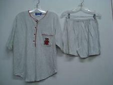 Nancy King Lingerie 2 Piece Pajama Shorts & Top Set Size L Grey w/ Red #560N