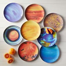 """Planet Plate Set of 8 Solar System Space 10"""" Dinner Plates"""