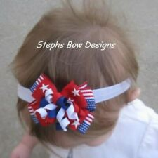 American Flag July 4th Layered Korker Hair Bow Soft Headband Preemie to Toddler