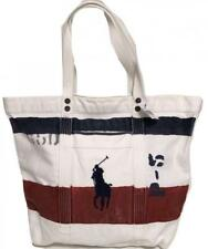 NWT POLO RALPH LAUREN RED, WHITE, BLUE HEAVY COTTON CANVAS TOTE BAG