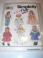 """GIRLS CHILDS CUT SIMPLICITY 8211 Sewing Pattern 18"""" DOLL CLOTHES VICTORIAN LOOK"""