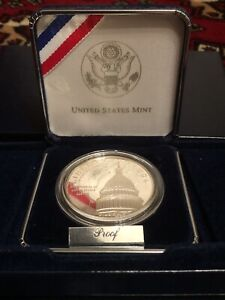 1994 US Capitol Bicentennial Silver Dollar Proof Coin By US Mint, with Box & COA