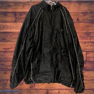 Vintage Men's STARTER Windbreaker Jacket size MEDIUM Black Full Zip Nylon