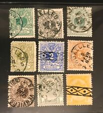 BELGIUM postage stamps Lot of 9 old