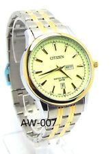 New Citizen Man Two-tone, Light green-dial, Day-date-window Dress Watch