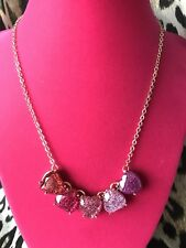 Betsey Johnson Not Your Babe Holographic Pink Red Glitter Lucite Heart Necklace