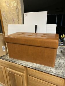 """Faux Leather Tufted Collapsible Bench by Valerie Parr Hill COLOR Chestnut 29"""""""