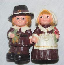 Vintage Pilgrim Couple Thanksgiving Figures Hallmark Cards Inc 2.5 inch