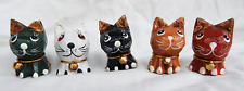 Tiny Hand Painted Wooden Cat with Bell - Assorted Colours - BNWT