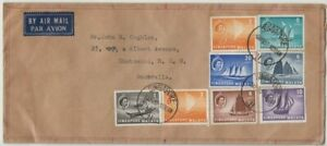 Stamps various Singapore 1957 on plain cover sent airmail to NSW Australia