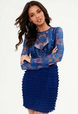 Missguided blue embroidered ruffle bodycon dress uk 10