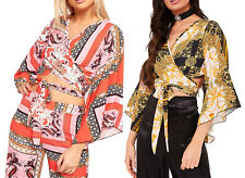 Flared Bell Sleeve Crop Top Womens Retro Print Sexy Tie Wrap Around Party Top BN