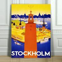 """VINTAGE TRAVEL CANVAS ART PRINT POSTER - Stockholm Sweden Orange Tower - 24x16"""""""