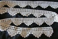 Pretty Antique French Handcrafted Cotton Crochet Lace Scolloped Trim c1920 16FT!
