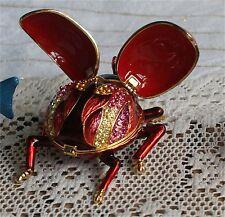 Enameled Collectible Replica  Jeweled rhinestone lady bug open box