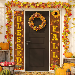 Whaline Fall Harvest Hanging Banner Happy Fall Blessed Porch Sign Rustic Autumn