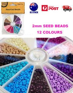 2mm Assorted Seed Beads With Round Beads Container Jewelry 12 Colors Craft DIY