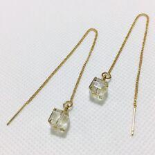Cube Crystal Gold-Tone Earrings Long Ear Thread/Drop/Chain/Tassel/Line 100%New