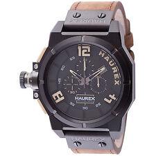 Haurex Italy Men's 6N510UNT Space Chrono Tan Leather Date Wristwatch