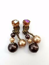 Vintage Japan Signed Rhinestone and Bead Earrings Clip ons Multicolor