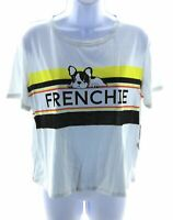 Social Butterflies T Shirt Womens Size Large White Short Sleeve Frenchies
