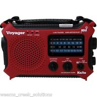 Kaito KA500 Voyager Emergency Radio Solar Crank AC Adapt - Red