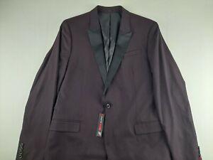 NEW J Ferrar Men 44 L Slim Burgundy Tuxedo Coat Textured Jacket One Button