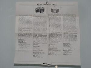 Olympus OM Beipackzettel für 1,8 50mm Objektiv